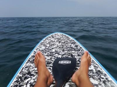 富浦湾の対岸までの遠泳はSUPでサポートしました