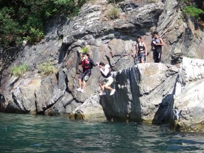 5m岩からのダイブで度胸試しをしました
