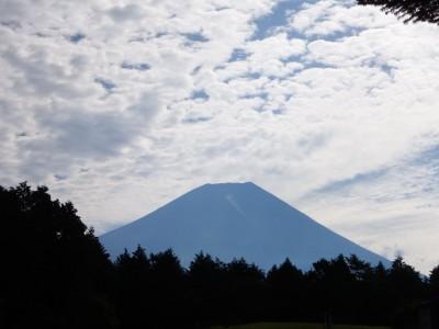 朝の散歩中に見た富士山。朝霧高原から見る富士山は大きいです。