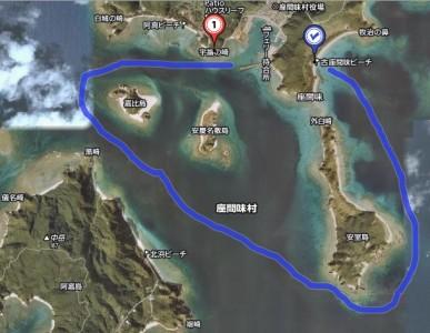 安室島〜安慶名敷島〜嘉比島〜座間味港までの約10km
