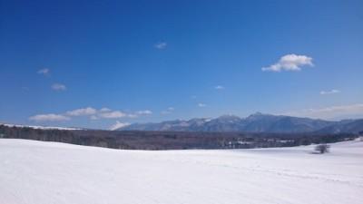今シーズンは浅間山だけがなんとか白く見えています。ゲレンデにいると真っ青な空が映えますね